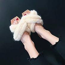 Cruz Stuffies Maomao Femenina Coreana Dentro Y Fuera De La Habitación Llevaba Zapatillas Palabra Arrastre Cuadrado Tidewomen Femenino De Zapatillas