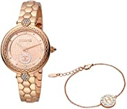 Just Cavalli Rose Gold Dial Stainless Steel Analog Watch with Bracelet Set For Women