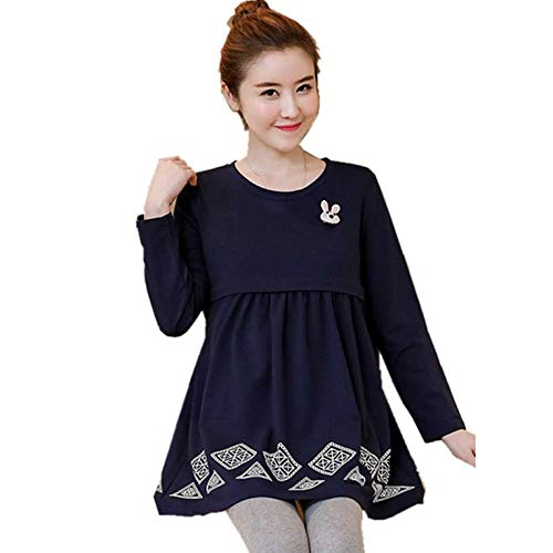0dc26d7cc8809c Peepheaven Maternity Nursing Dress Long Sleeve Breastfeeding Clothes for  Pregnant Women - Dark Blue(XL