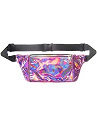 Women Men Shiny Metallic Wasit Bag Fashion Reflective Chest Bag Laser Waterproof PU Pack Bum Bag For Outdoor Beach... - B07H3RH342