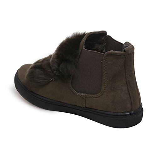La Modeuse - Chaussures pour enfant ensuédine avec empiècements en fourrure Vert