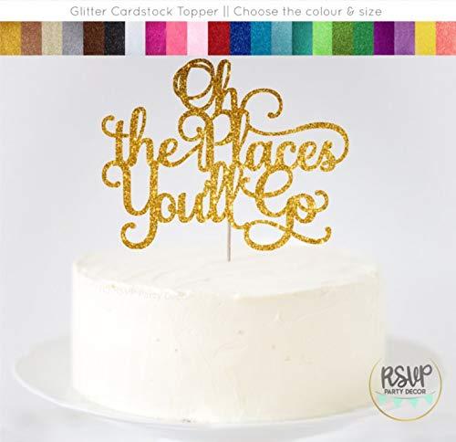 Orte, die Sie gehen Cake Topper Up Up Away Party Dekorationen Graduation Cake Topper Baby Dusche Topper 1. Geburtstag Topper ()