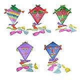 Drachen Bastelset 5 bunte Farben mit viel Zubehör lila, hellblau, rot, grün, blau zum bemalen und bekleben Kinderleicht - Drachenbasteln wie früher mit Drachenpapier und Holzgestänge - Kinderdrachen Einleiner Top Preis
