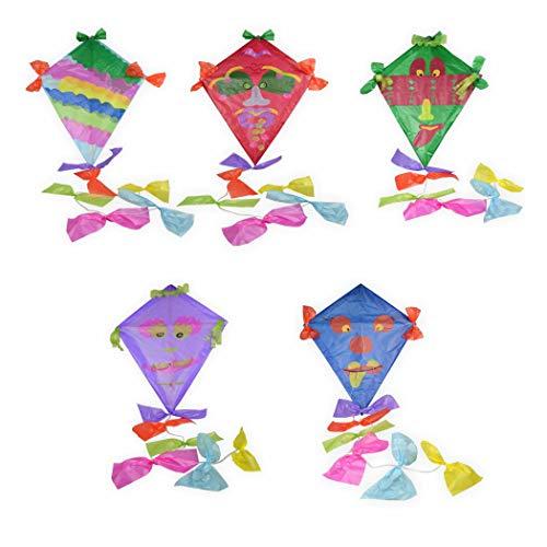 Drachen Bastelset 5 bunte Farben mit viel Zubehör lila, hellblau, rot, grün, blau zum bemalen und bekleben Kinderleicht - Drachenbasteln wie früher mit Drachenpapier und Holzgestänge