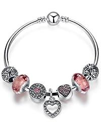 Wowl encanto del brazalete con encantos de plata plateada hecha a mano cuentas de cristal y colgante corazón