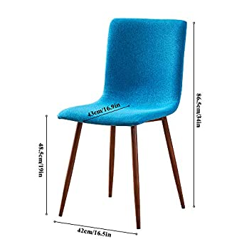 BOJU Occasional Kitchen Dining Chairs Set of 4 Blue Linen Fabric Upholstered Padded with Metal Legs Accent Restaurant Office Reception Side Chairs for Living Room Lounge Party