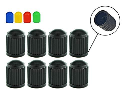 Zymbala 8X Ventilkappen aus Kunststoff in Schwarz. Passt auf jedes gängige Autoventil (Schraderventil). Reifenventilkappe für Fahrrad, PKW, Motorrad, Moped Schubkarren LKW. Schutz bei jedem Wetter