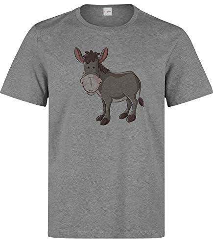Herren Niedlicher Cartoon Esel T-Shirt Grau M