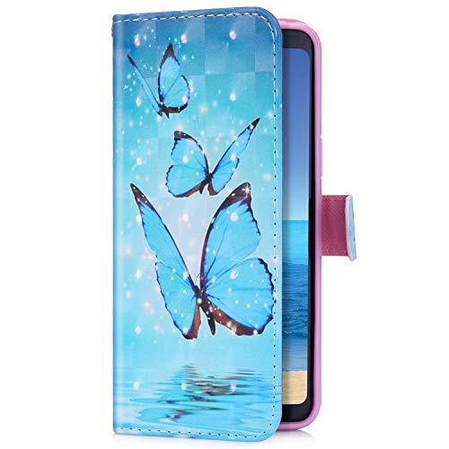 Uposao Kompatibel mit LG V50 ThinQ Handyhülle Bling Glitzer 3D Bunt Muster Schutzhülle Glänzend Cover Tasche Leder Wallet Hülle Flip Case Handytasche Kartenfächer,Blau Schmetterling