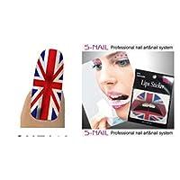 Partypackage Ltd Union Jack Lip Tattoo & 16 Nail Foils Makeup Face Body Paint Professional Artist Accessory SFX
