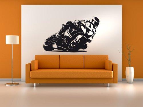 Wandtattoo Wandaufkleber MotoGP Motorrad #187B schwarz 142x90cm (RAL9005) (Wandbild Racing)
