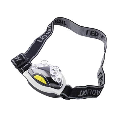 Bianco e nero 12000MCD impermeabile ultra luminoso 6 LED lampada frontale torcia lampada faro 3 modalità per il campeggio all'aperto per i regali di Nat