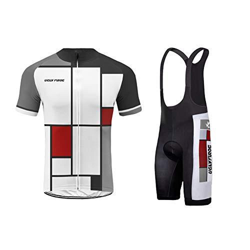 Uglyfrog Bike Wear-Promi Plaid-Malerei Design Herren Sport Top Trikot Men's Bike-T Full Zip +Bib Kurze Hosen with Gel Pad Anzüge for Rennen - Gel-bib