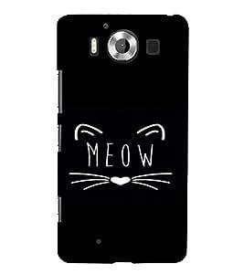 PrintVisa Meow Design 3D Hard Polycarbonate Designer Back Case Cover for Nokia Lumia 950