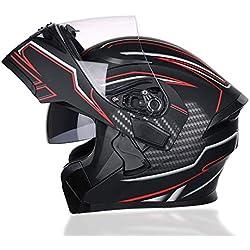 Azw Casque de Moto Complet à Double lentille, visière Wideen Horizons Protection complète Casque de Poussette de vélo, Certification de sécurité Dot (Photo Color, 4 Size),L