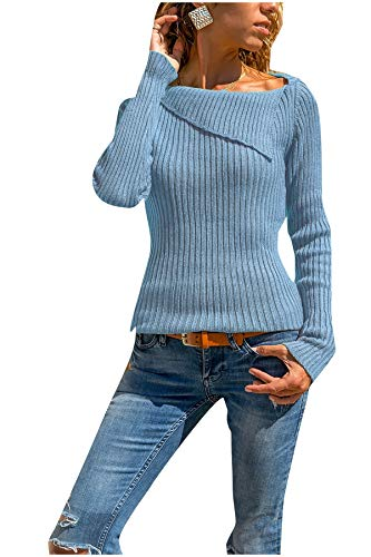 CuteRose Women Knit Ribbed Slim Fit Pullover Long-Sleeve Plus Size Sweaters Blue 4XL - Ribbed Knit Striped Sweater