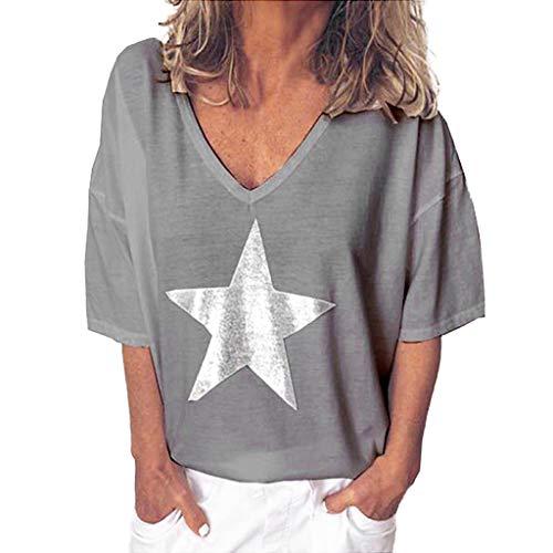 87fae18e7 Qingsiy Camisetas Mujer Blusa Suelta De Mujer Manga Corta Camiseta con  Estampado Tops Casuales Camisa Escote