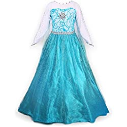 Nice Sport Niña Princesa Elsa de manga larga vestido disfraz