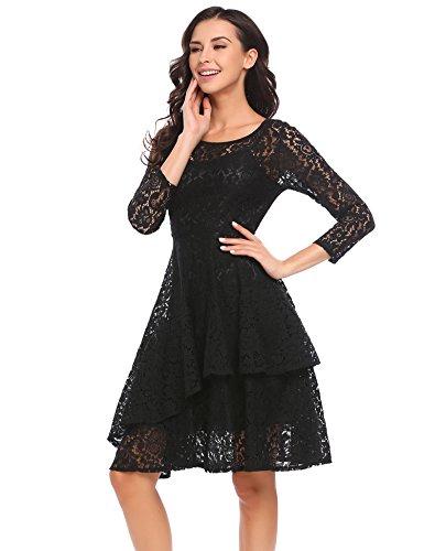 Meaneor Damen Kleid Falten A-linie Doppel Ruffles Knielang Spitzenkleid Festliche Kleid Mit Hem Gefaltetes Abbildung 3