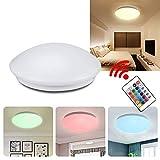 LeMeiZhiJia 15W RGB+Warmweiß LED Deckenleuchte mit Fernbedienung Dimmbar - moderne rund Deckenlampe kinderzimmer Flur Wohnzimmer Lampe Schlafzimmer (15W RGB+Warmweiß)