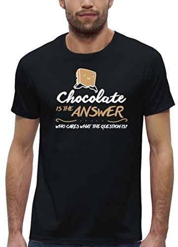 Lustiges Premium Herren T-Shirt aus Bio Baumwolle mit Chocolate Is The Answer Stanley Stella Black