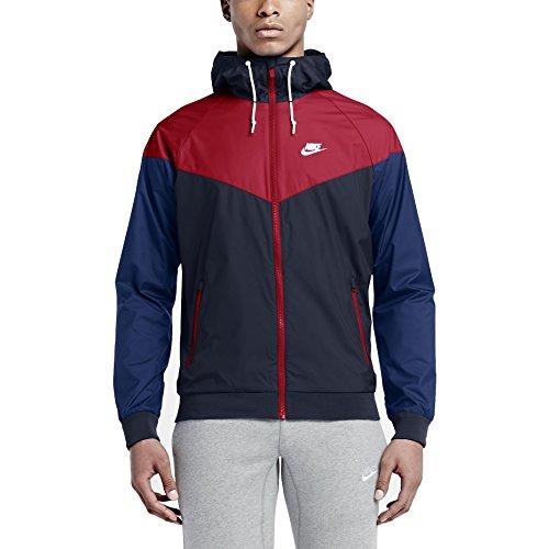 Nike Windrunner Veste Homme Obsidian/University Red/Blanc FR : S (Taille Fabricant : S)