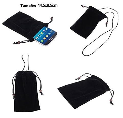 DFV mobile - Étui Housse Tissu Flanelle Doux avec Fermeture de Boucle et Corde de Collier pour => DORO HANDLEPLUS 326I GSM > Noir