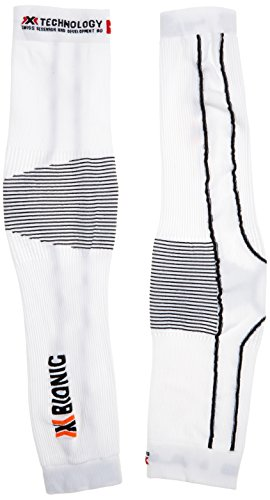 X Bionic - Scaldabraccia in tessuto funzionale da adulto Biking OW Arm Warmer Light DX SX, senza cuciture, Unisex, Funktionsbekleidung Biking OW Arm Warmer Light DX SX No Seam, Bianco/antracite, L/XL