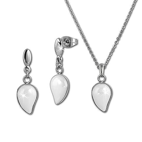Amello Parure de bijoux en acier inoxydable Céramique Goutte blanc Set Collier Boucles d'oreilles ESSX45W