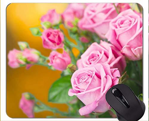 Rechteck-Mausunterlage, rosa Blumen-Rosen-Blume - genähte Ränder