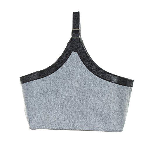 Just Fox–Borsa Borsa giornale feltro cestino portalegna in 2colori grigio chiaro/scuro, grigio chiaro (grigio) - 1142 grigio chiaro