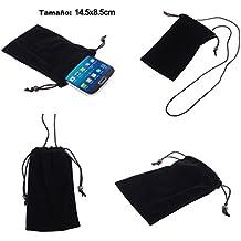 DFV mobile - Funda de Tela en Paño Suave con Cierre por Lazo y Colgante de Cuello para => TECNO R5 > Negra
