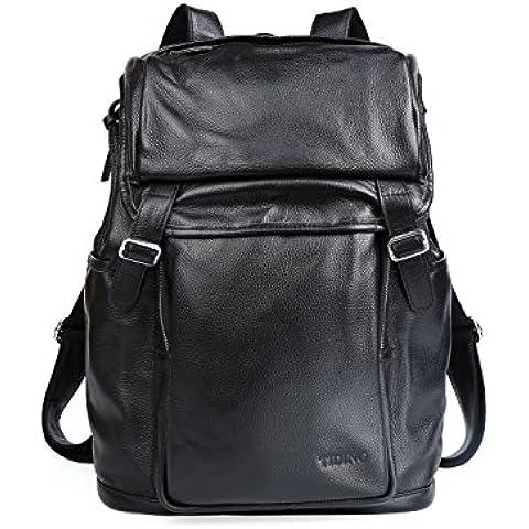 TIDING vera pelle duffels Viaggi Weekender valigia zaino Tote Laptop borsa nera Nero