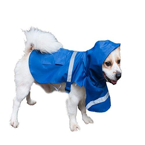 Andux Zone Cappottino Impermeabile per Cane Packable Cane Pioggia Poncho Safe Striscia Riflettente, Leggero e Confortevole CW-GYY01 (blu, S) - Cane Pioggia Slicker