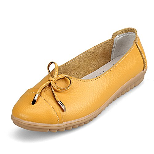 YY-Rui Chaussures de course Moccasin décontractées pour femmes Jaune