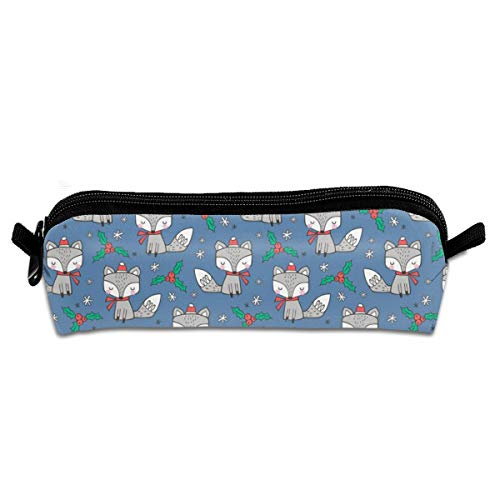 Winter Christmas Xmas Holidays Fox With Snowflakes Hats Beanies scarf On Dark Blue Navy Tiny Pencil Pouch Bag Stationery Pen Case Makeup Box with Zipper Closure 21 X 5.5 X 5 cm (Sexy Beanies)