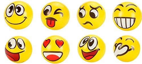 Lote de 24 Pelotas Pequeña de EMOTICONOS 10 CM de Goma. Juguetes, regalos divertidos y originales prácticos para Niños, Niñas y todas las edades. Regalos Baratos Comuniones, bodas, Cumpleaños