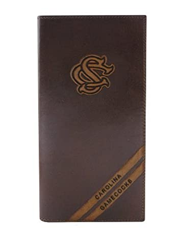 NCAA South Carolina Gamecocks Zep-Pro Pull-Up Leather Long Secretary Embossed Wallet, Brown by Zeppelin Products, Inc.