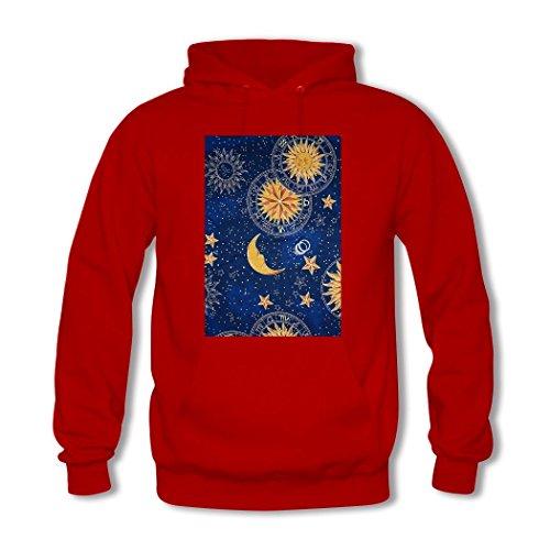 weileDIY Moon and Sun DIY Custom Women's Printed Hoodie Sweatshirt Red_B