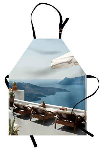 ABAKUHAUS Grec Tablier de Cuisine, Vue sur La Caldeira Santorin, Lavable Réglable en Hauteur Couleurs claires sans décoloration, Bleu Blanc Et V
