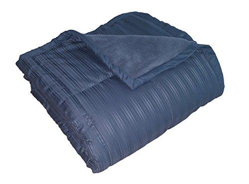 Luxlen Mikrofaser Überwurf Decke für Couch/Sofa | wendbar: Soft Plüsch auf Satin Cool, Polyester-Mischgewebe, blau, 50