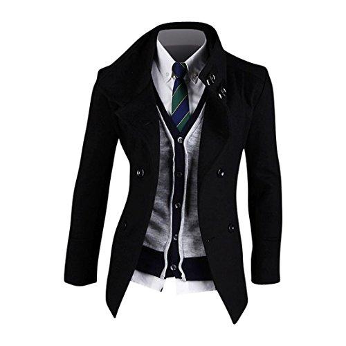 Jeansian Abiti Uomo Inverno Moda Giacca Uomo Tendenza Tuta Design Sottile Blazer 8993 Black