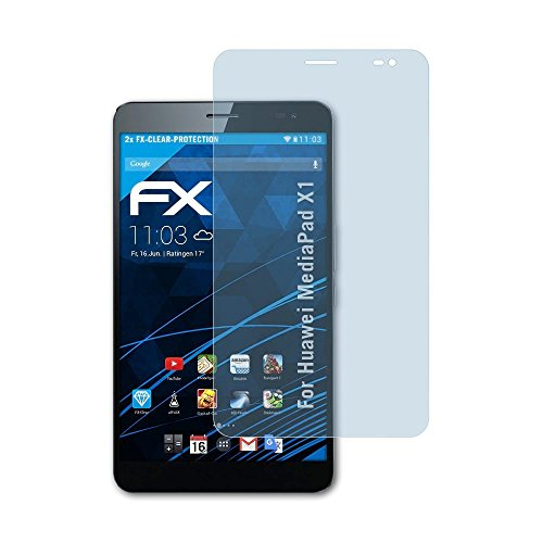 atFolix Schutzfolie kompatibel mit Huawei MediaPad X1 Folie, ultraklare FX Bildschirmschutzfolie (2X)
