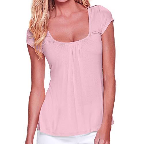 LEXUPE Damen Damen Casual Kurzarm Oansatz Splice Spitze Tops Bluse Pullover Hemd ()