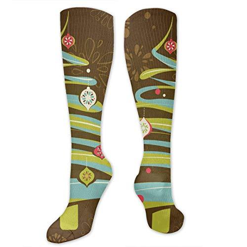 Jxrodekz Knee High Socks Christmas Xmas Tree Knee High Compression Stockings Athletic Socks Personalized Gift Socks Men Women Teens Girls (Happy Friends-halloween-party Tree)