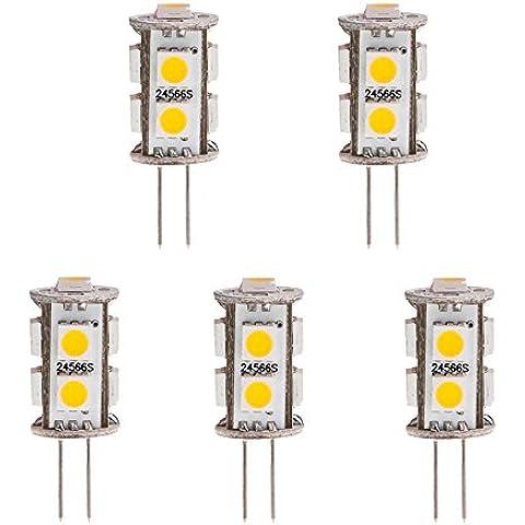 HERO-LED espalda pasador torre T3G4Base Bi Pin JC LED halógena bombilla de repuesto de Xenón, 12V CA/CC o 24V DC, lámparas de escritorio, luces de techo, luces Puck, debajo del mostrador luces, Pro–Regleta de luces, marina, barcos, yates, acento, pantalla, paisaje y la iluminación General, 9SMD LED, 15–20W reemplazo, 5-Pack, blanco cálido, G4, 1.80 wattsW 12.00 voltsV