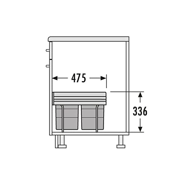 Gr/ün 30 L mit 2-fach Trennung 2 x 15 L inkl Einbauabfallsammler von WESCO in Wei/ß Griffkante und Teilauszug per Hand ab 30 cm Schrankbreite f/ür Dreht/üren Montage auf Schrankboden M/ülleimer Abfalleimer