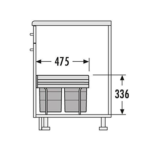 Hailo 3642131 Abfallsammler TR Swing 40.3/35 für Schränke mit 400 mm Breite mit Drehtür