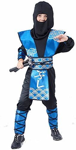 �hrlicher Ninja Kinderkostüm Krieger schwarz-blau 122/134 (7-9 Jahre) (Blau Ninja Kostüm Für Kinder)