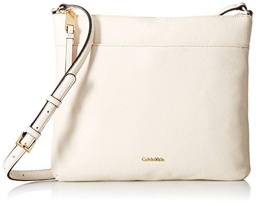 Calvin Klein Damen Pebble Leather North South Crossbody-Tasche Kieselleder, weiß, Einheitsgröße (South Body Cross)